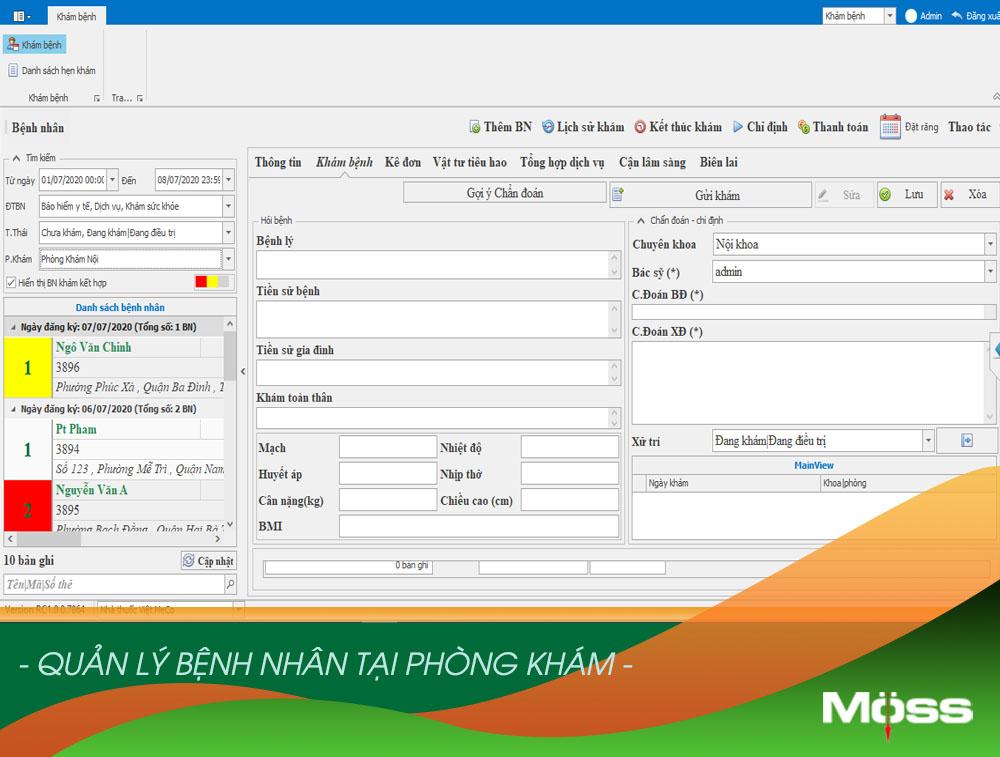 Phần mềm phòng khám quản lý dữ liệu bệnh nhân đầy đủ