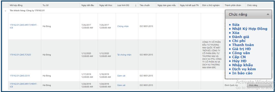 Thêm nhanh tác vụ riêng nhờ modul Tính năng ( sửa, xem nhật lý, xóa, đánh giá, thanh toán, chi phí, nhập khẩu)