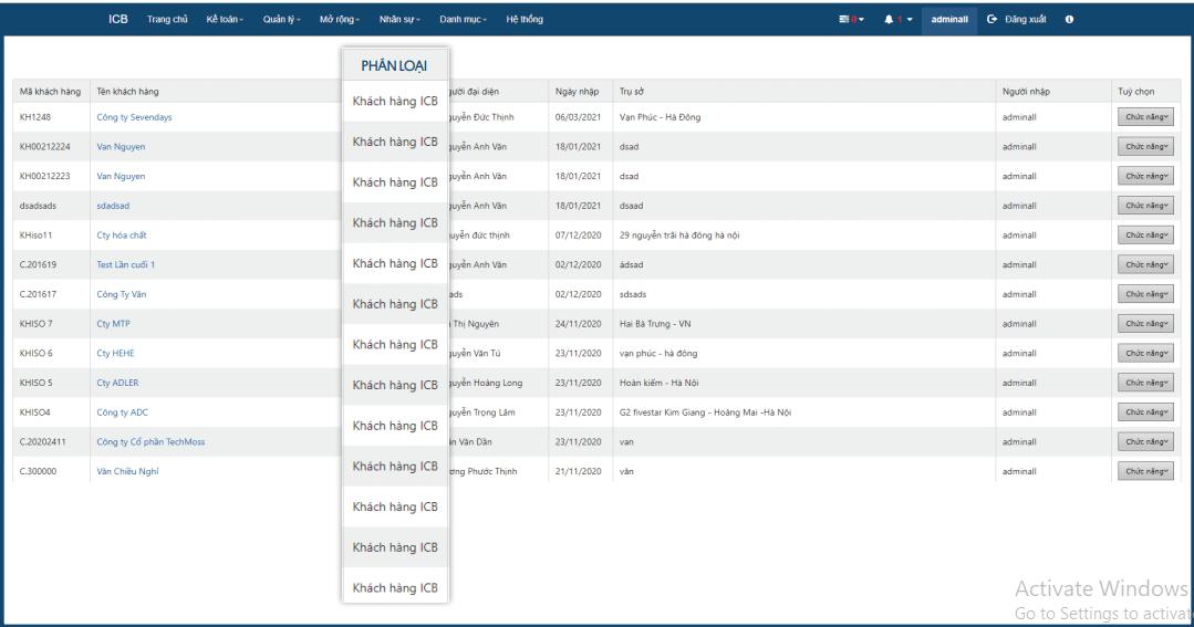 Báo cáo khách hàng theo phân loại khách hàng ICB, CAC, đơn vị ngoài