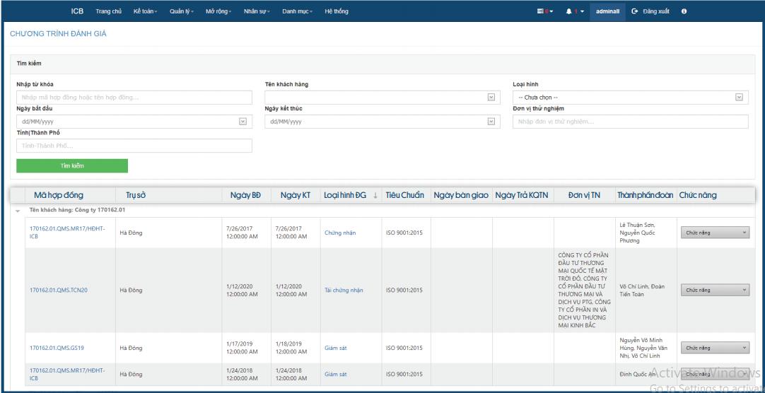 Ghi nhận toàn bộ thông tin chương trình đánh giá: Tên khách hàng, mã hợp đồng, phạm vi sản phẩm, cán bộ quản lý hồ sơ, tiêu chuẩn sản phẩm, loại hình đánh giá, trạng thái thanh toán, danh sách chuyên gia tham gia đánh giá.