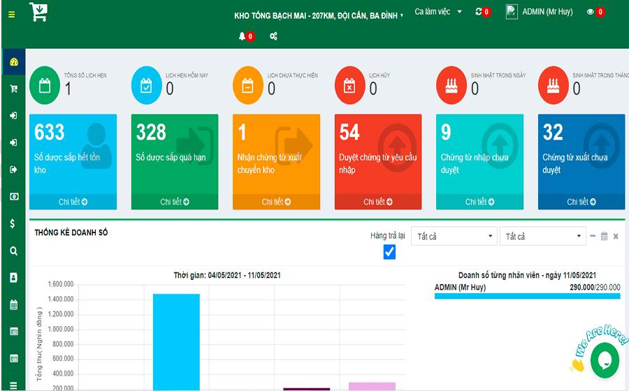 Giao diện của phần mềm quản lý nhà thuốc online Moss Pharma