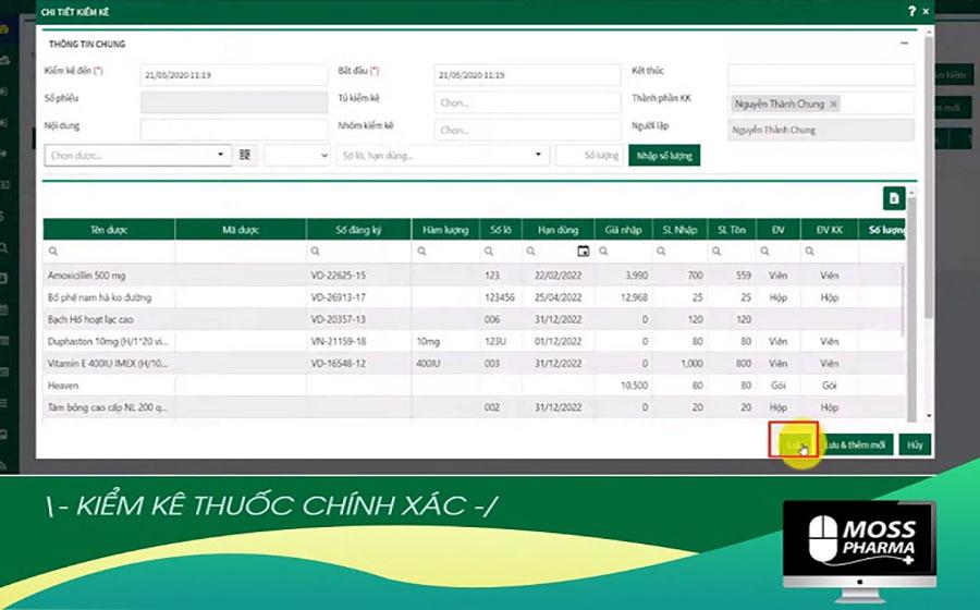 Tính năng kiểm kê kho thuốc của phần mềm quản lý nhà thuốc